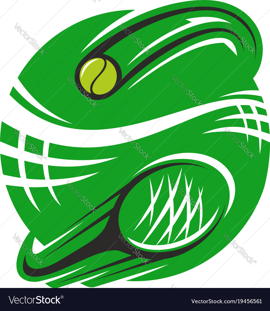 Tennis racket and ball icon for sport club