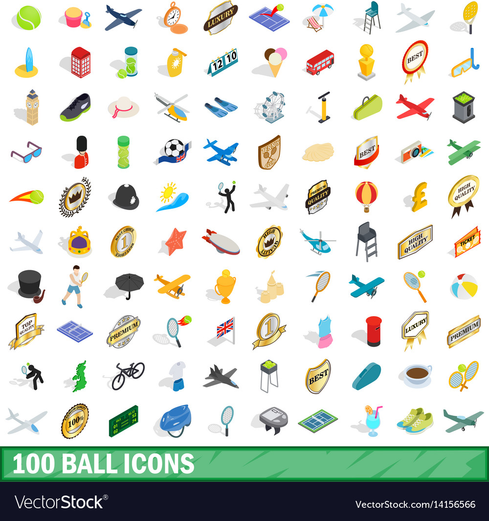 100 ball icons set isometric 3d style