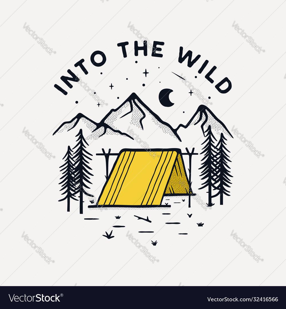Camping badge design outdoor logo