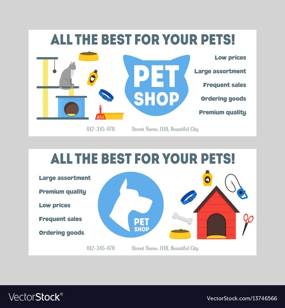 Cartoon pet shop banner or flyer set