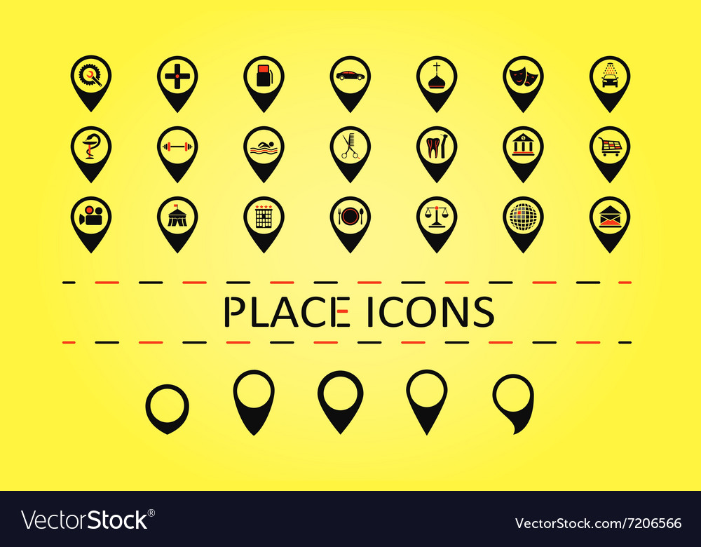 City places icons and 5 different map marks