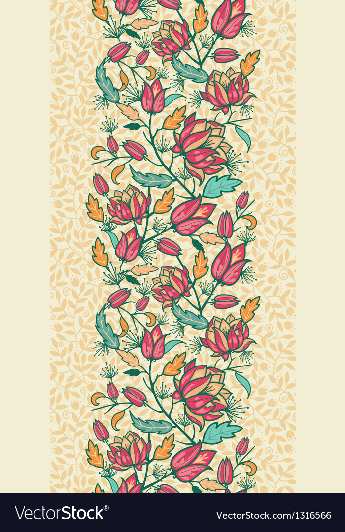 Colorful flowers and leaves vertical seamless