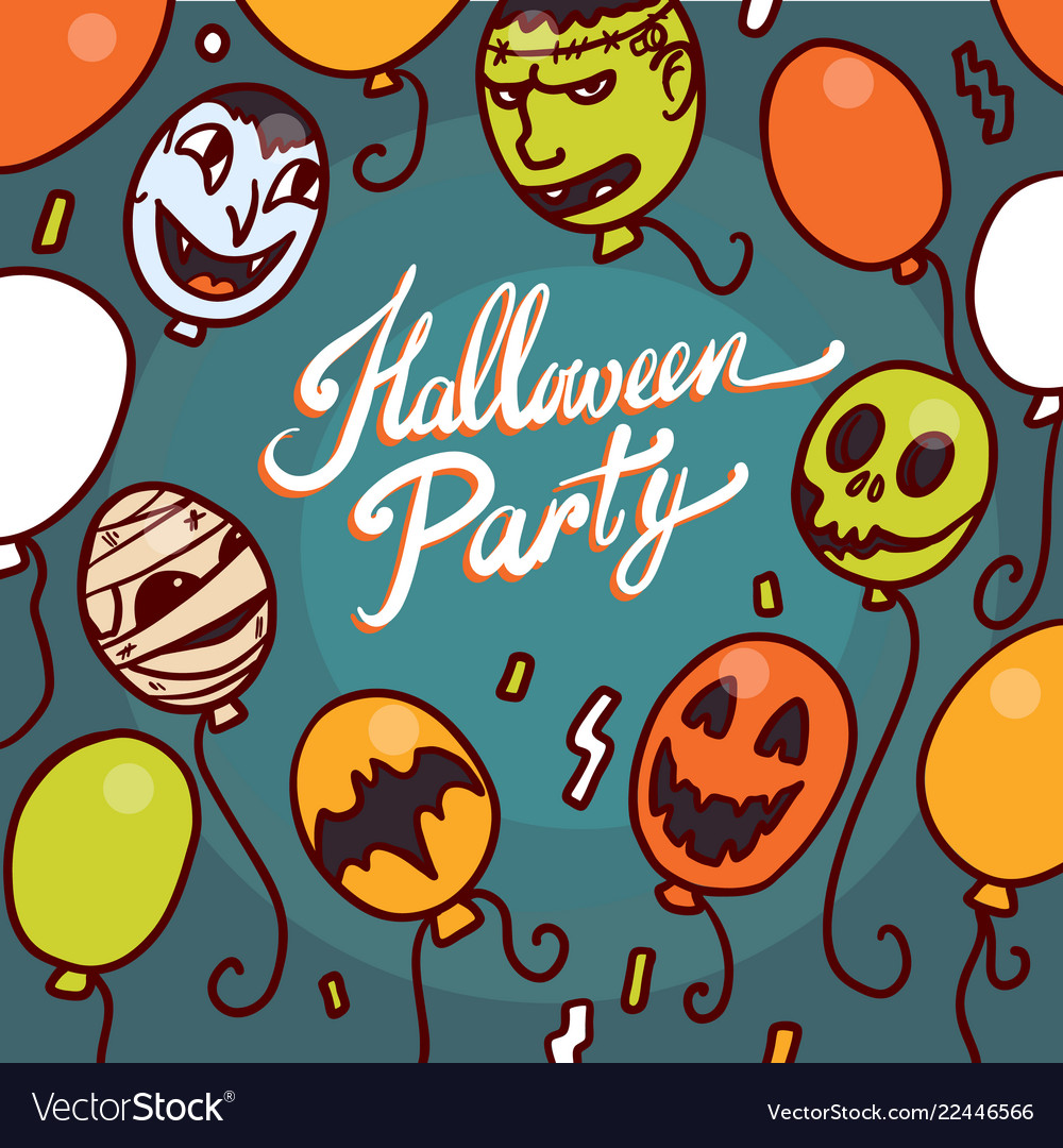 Halloween party concept background hand drawn