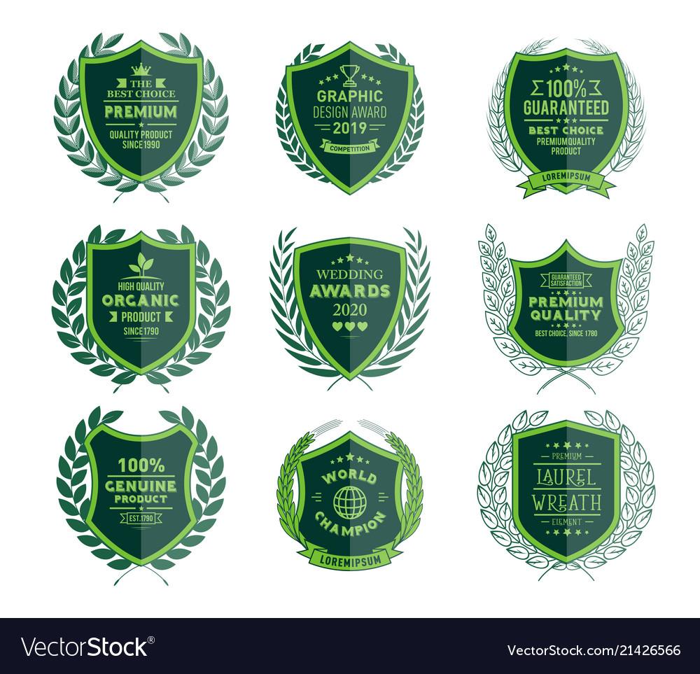 Luxury green badges laurel wreath templates