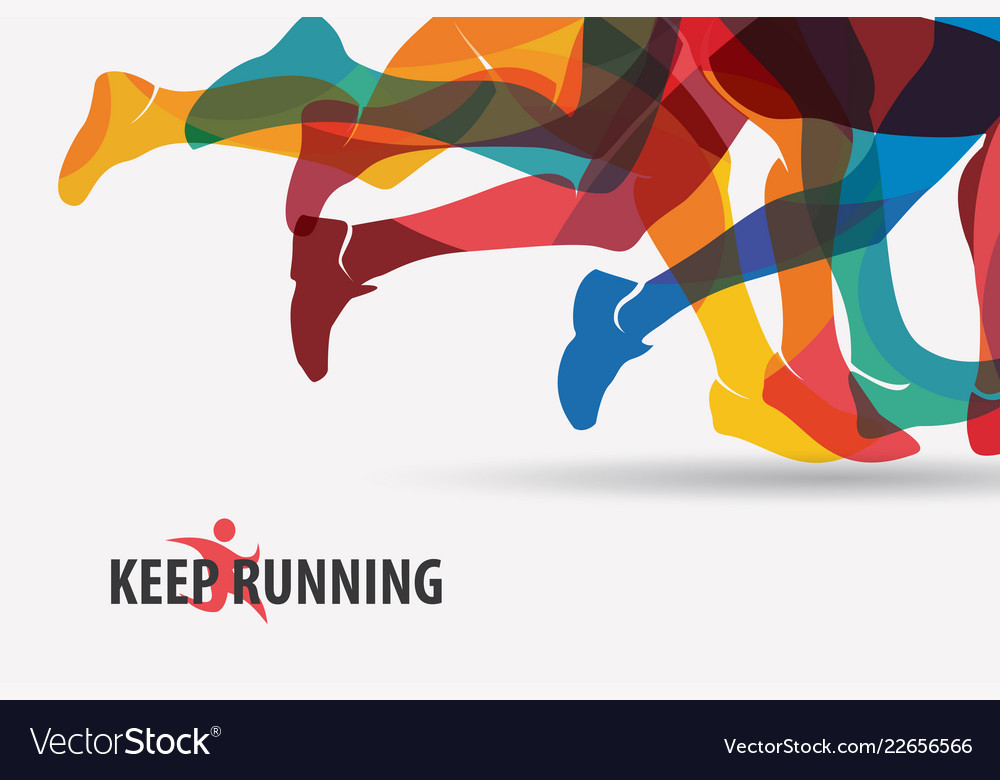 Running people set of silhouettes sport and