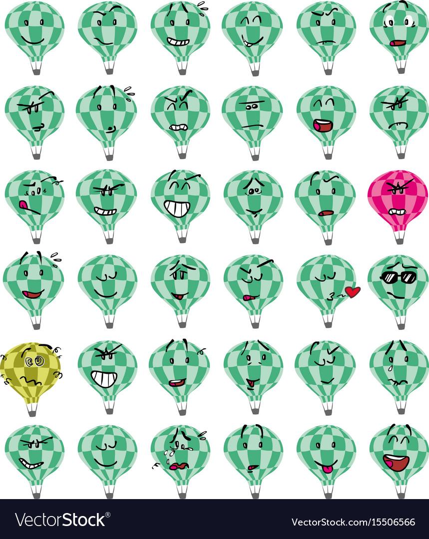 Set of a green hot air balloon character emojis
