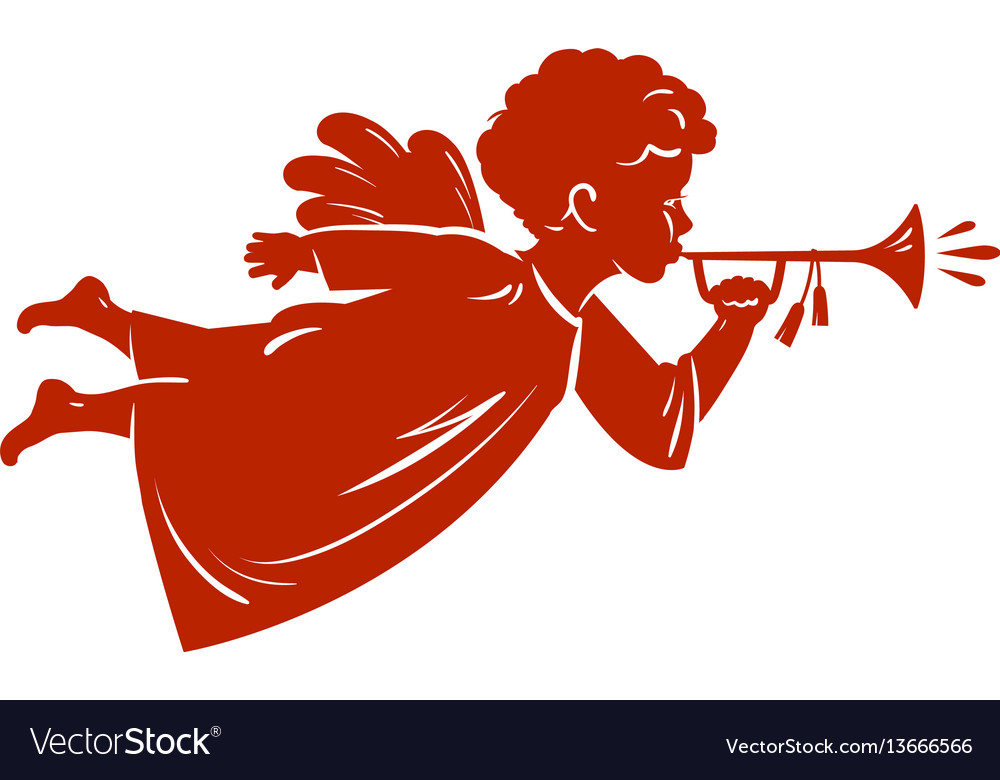 Silhouette christmas angel blowing a trumpet vector image