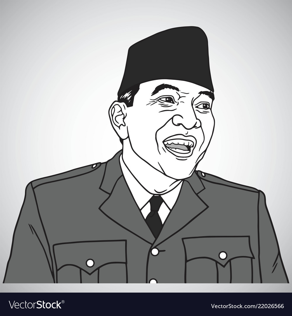 soekarno portrait drawing royalty free vector image vectorstock