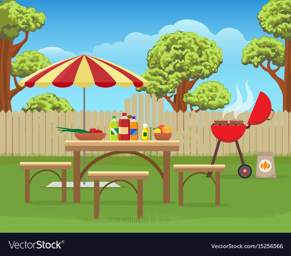 Summer backyard fun bbq vector image