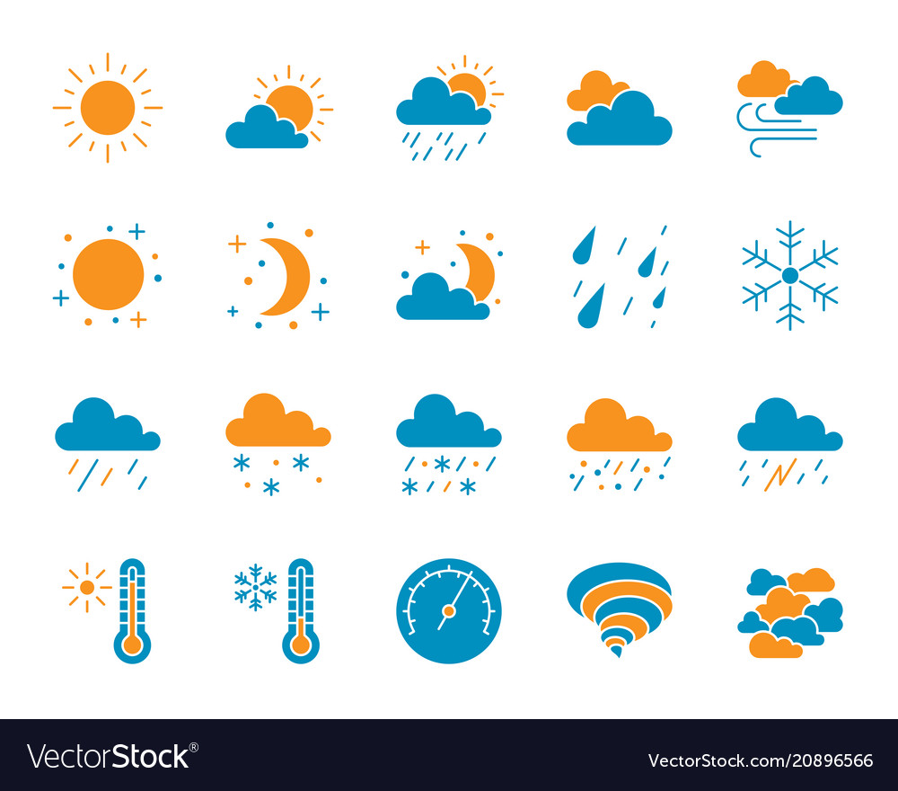 Weather simple color flat icons set