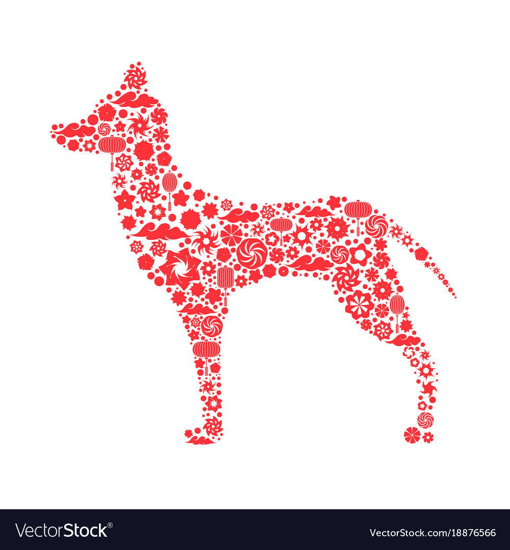Zodiac Symbol Of A Chinese New Year Dog 2018 A Vector Image