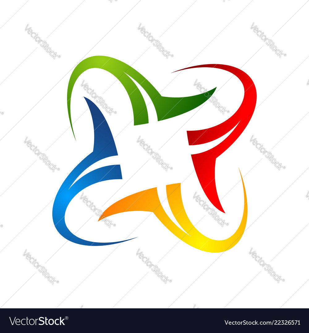 Abstract rotate colorful linear geometric logo