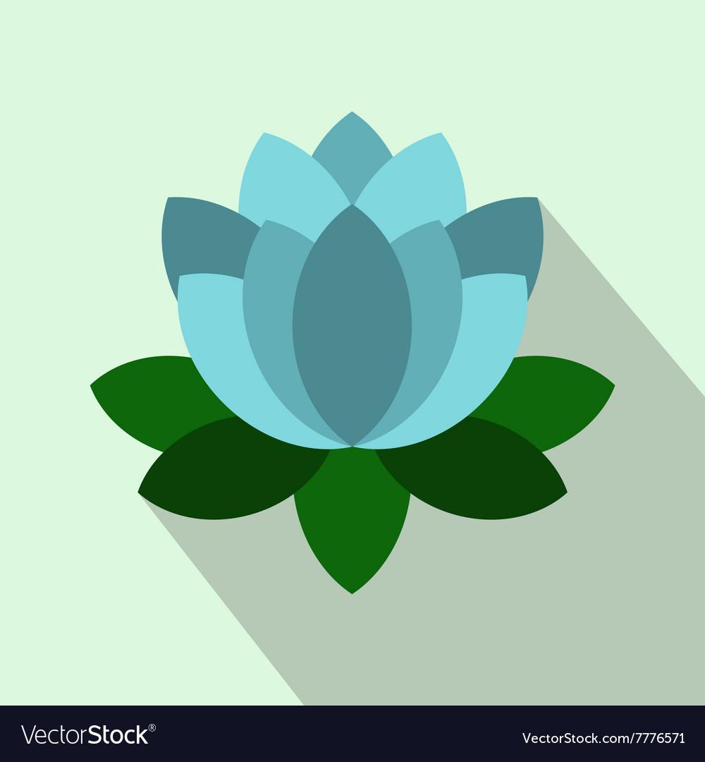 Blue lotus flower icon flat style