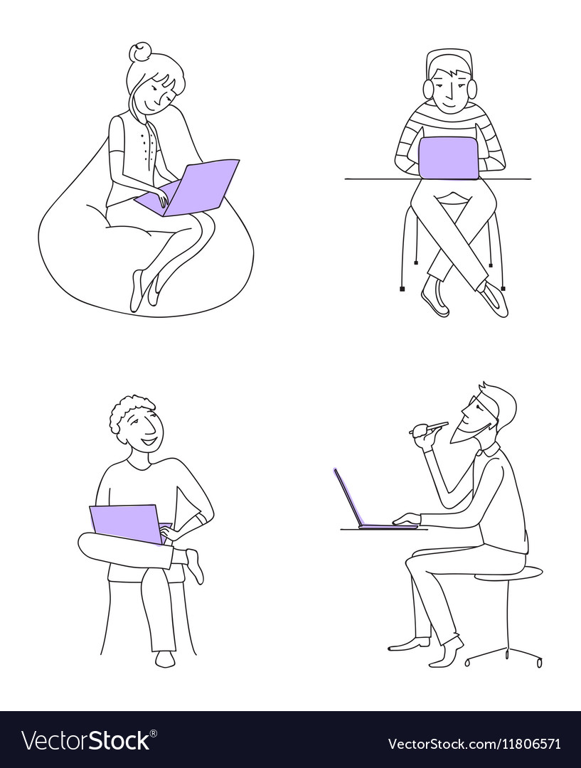 Business people working on laptops set vector image