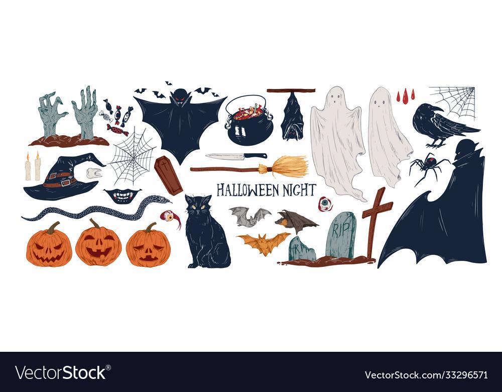Collection vintage halloween creepy stickers