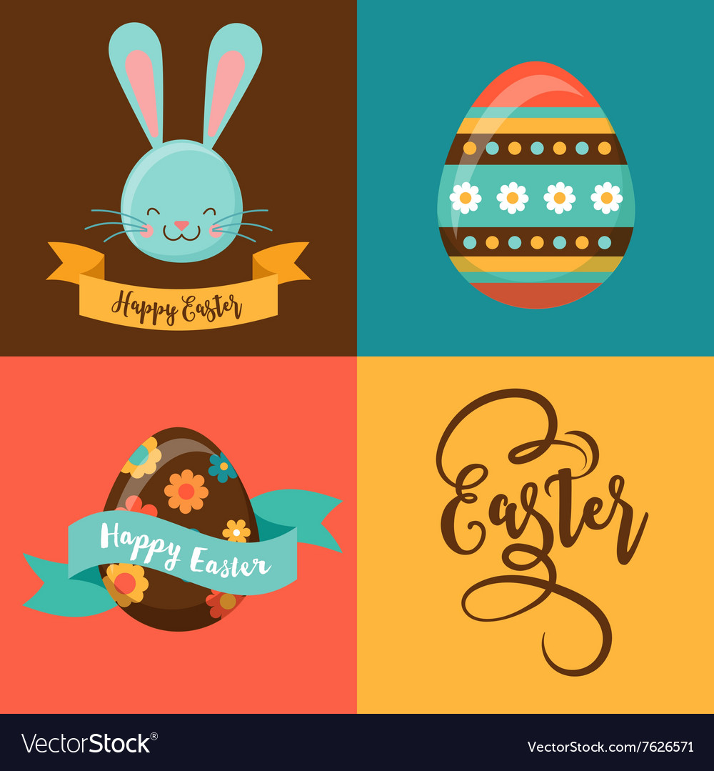 Colorful happy easter greeting card with rabbit