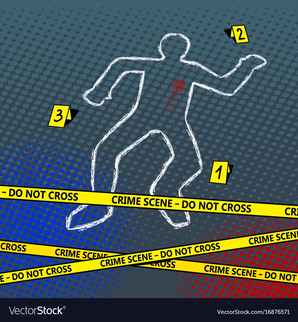Crime scene body chalk outline pop art Royalty Free Vector