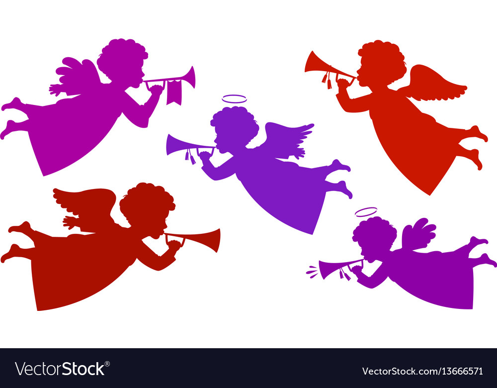Flying angel playing trumpet silhouette heavenly