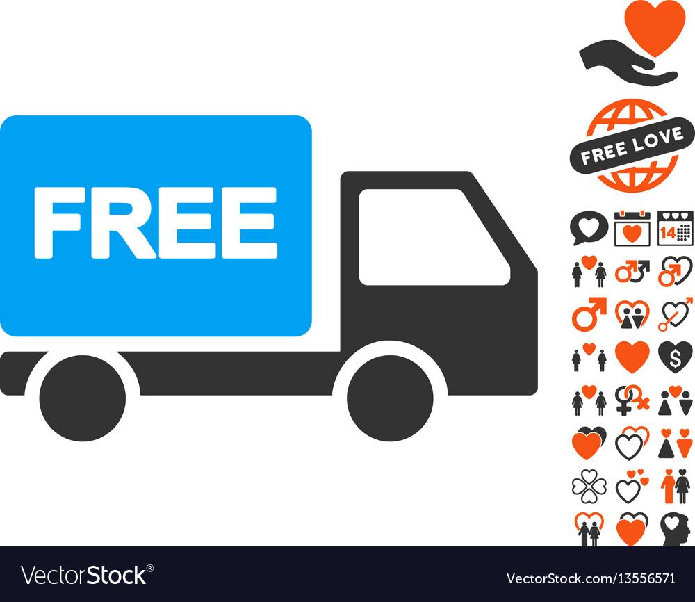 Free delivery icon with valentine bonus