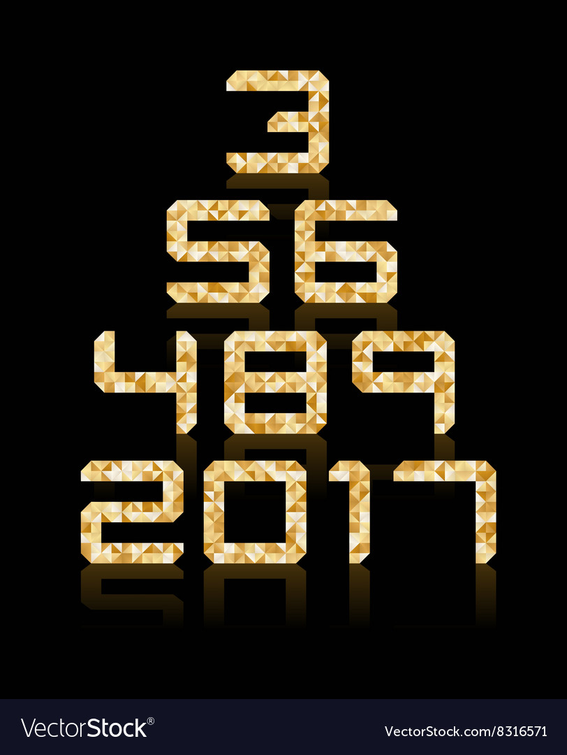 Golden number set with transparent reflections