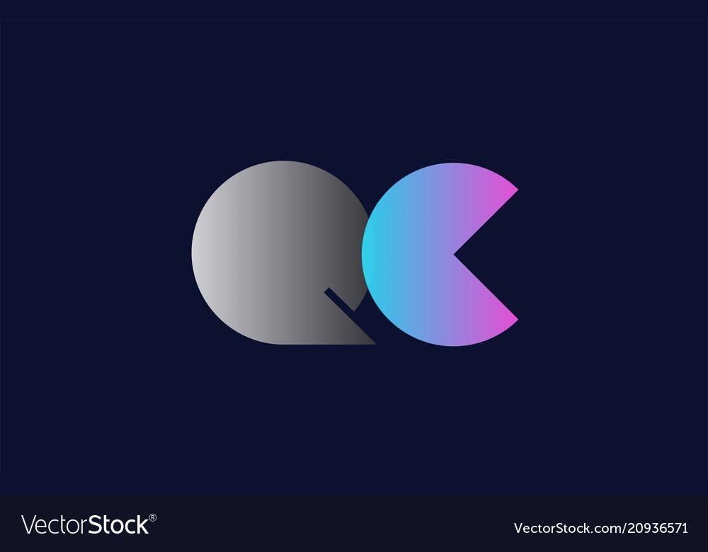 Initial alphabet letter qc q c logo company icon