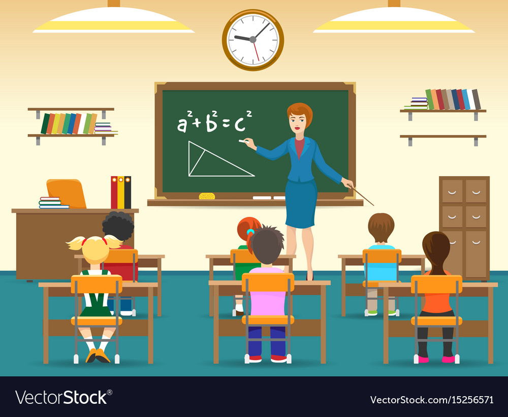 Kids sitting in classroom Royalty Free Vector Image