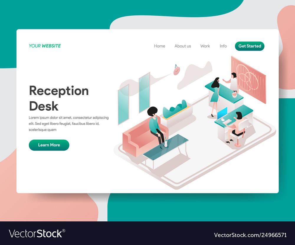 Landing page template reception desk concept