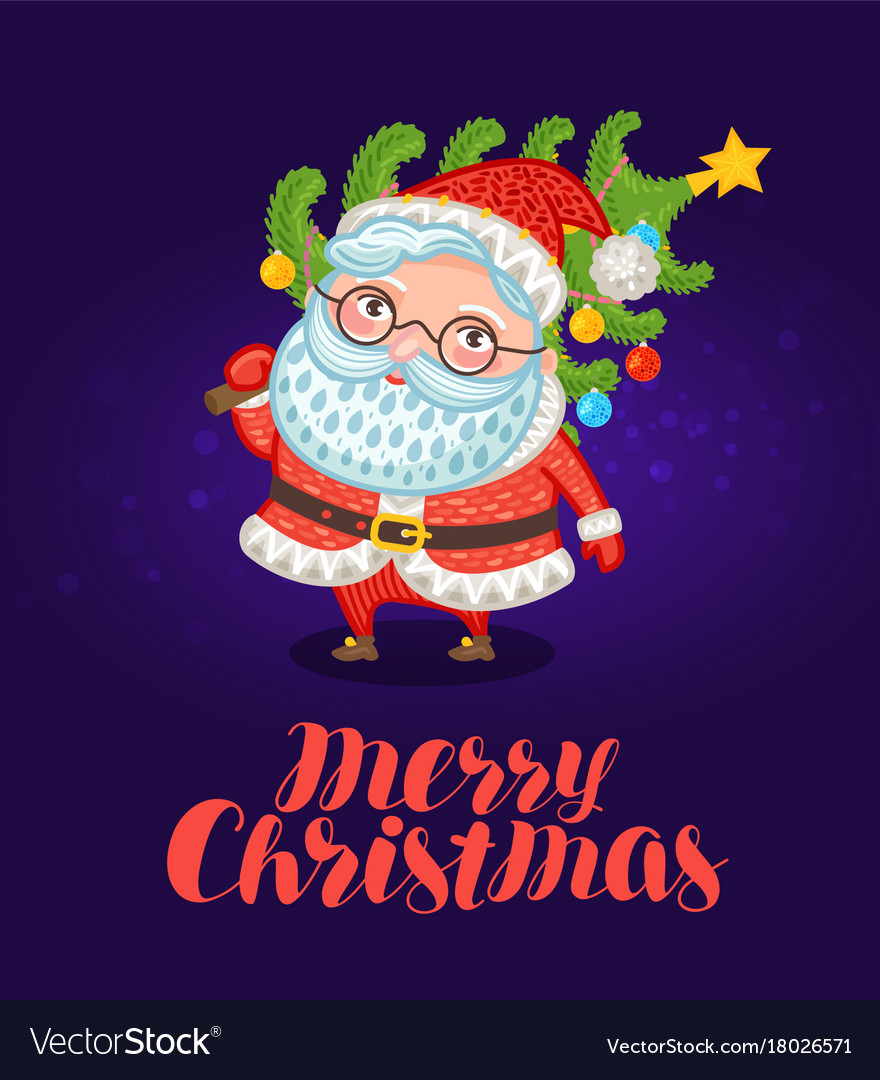 Merry christmas greeting card cute santa claus Vector Image