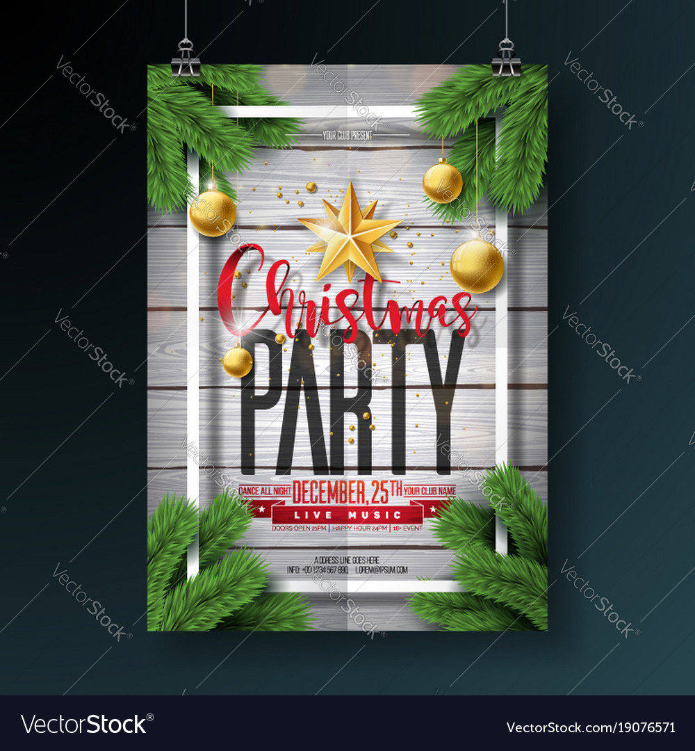 Merry christmas party flyer design with