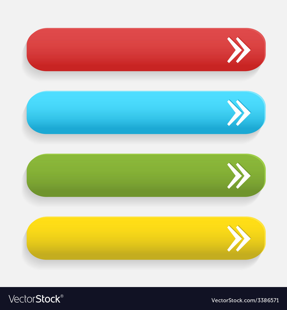 Realistic matted color web buttons with arrow