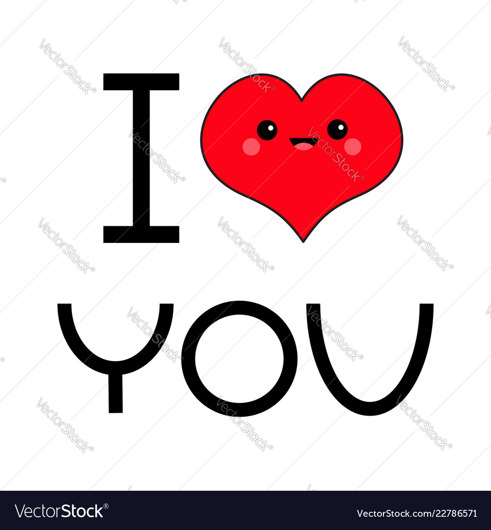 Red heart face head i love you text exclamation