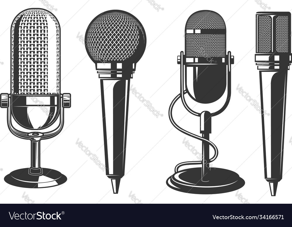 Set microphone in retro style design vector