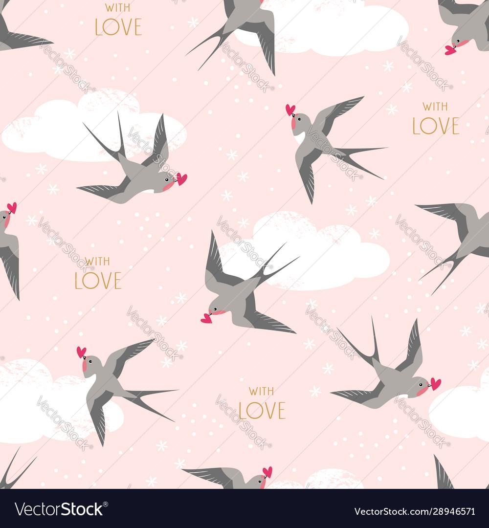 Swallows birds carrying hearts in flight pattern