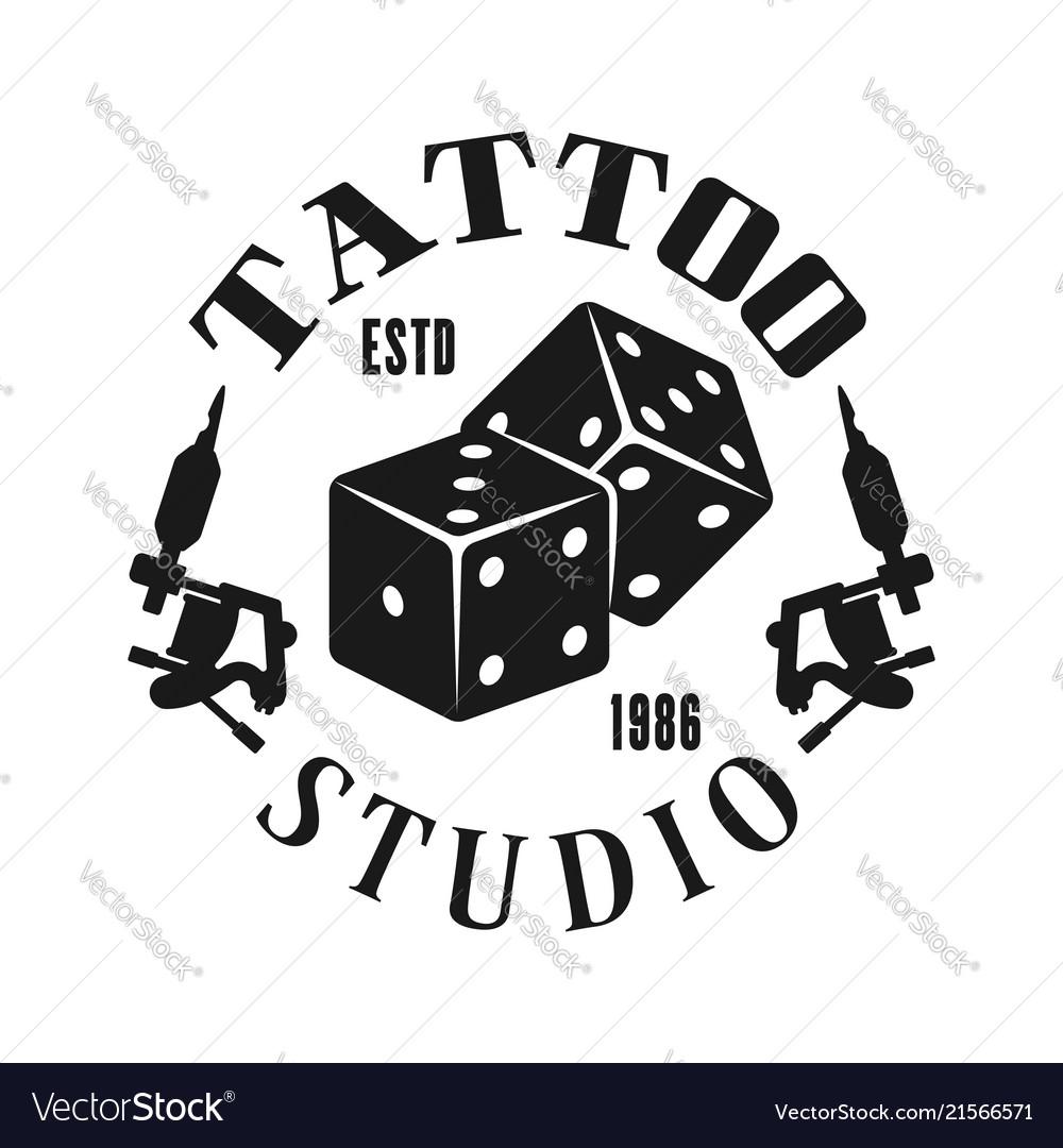 Tattoo studio emblem with gambling dice