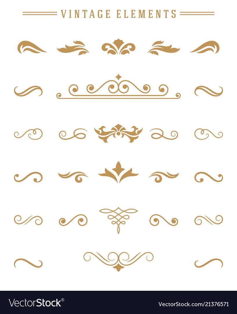 Vintage ornaments set floral elements for design