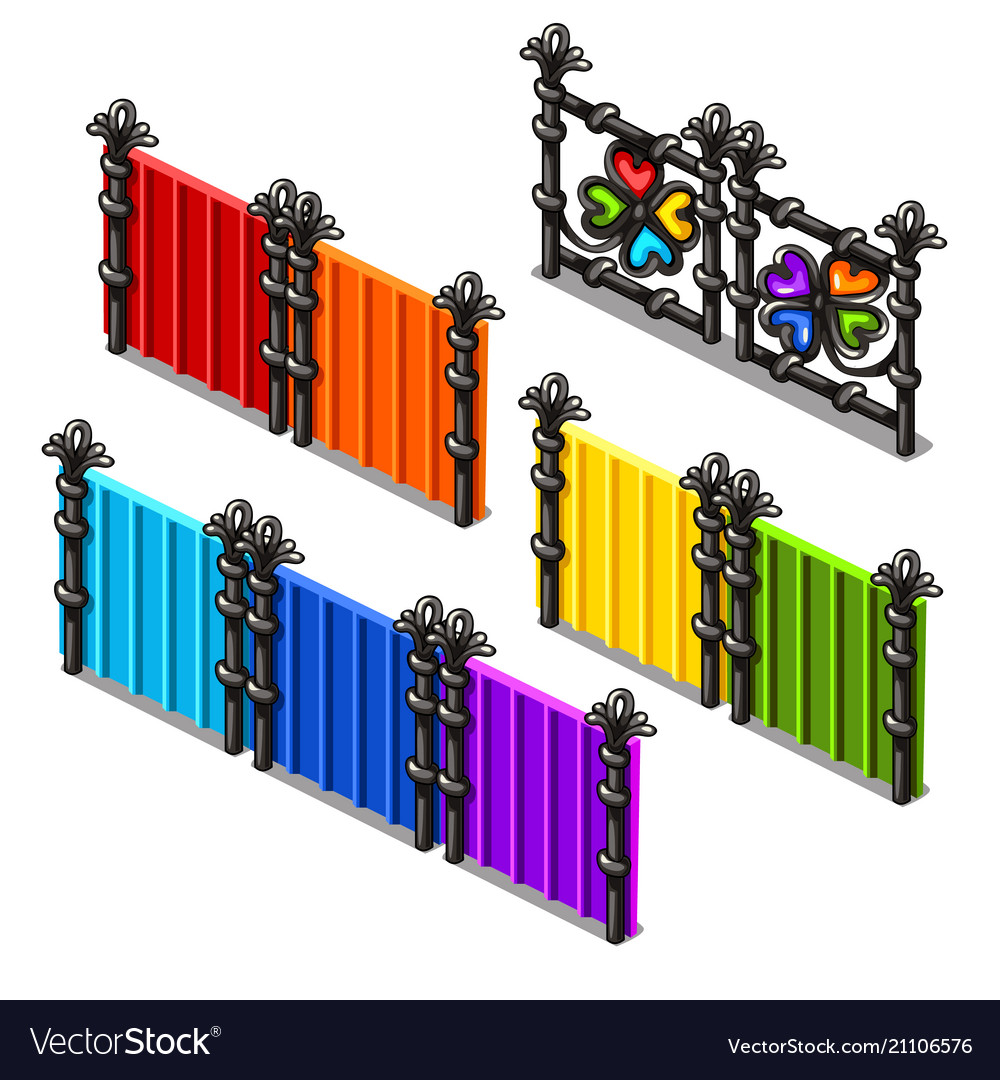 A set of fragments of colored fences isolated on