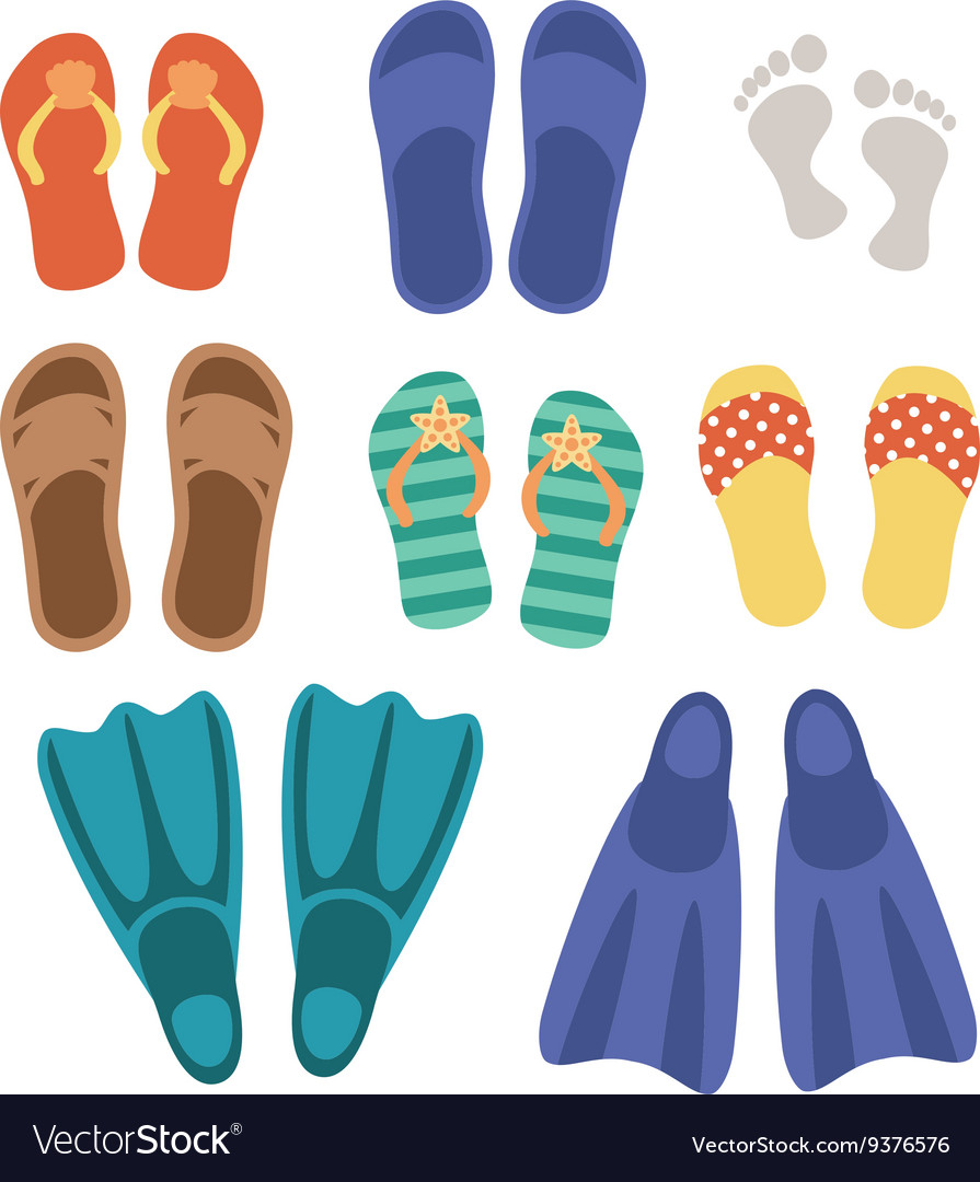 Beach footwear set isolated on white background