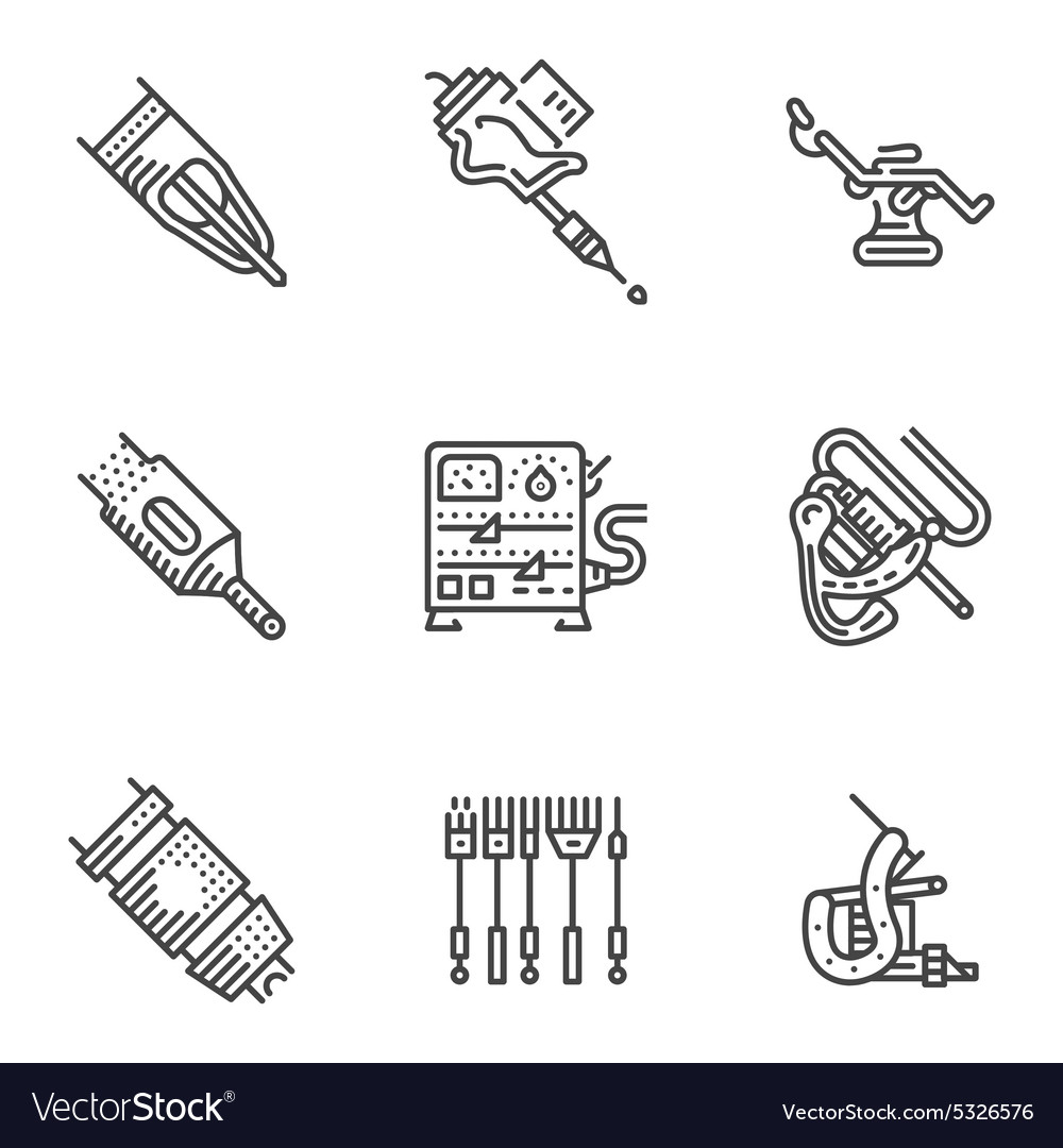 Black line icons for tattoo equipment