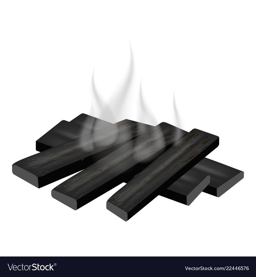 Burned bonfire icon realistic style