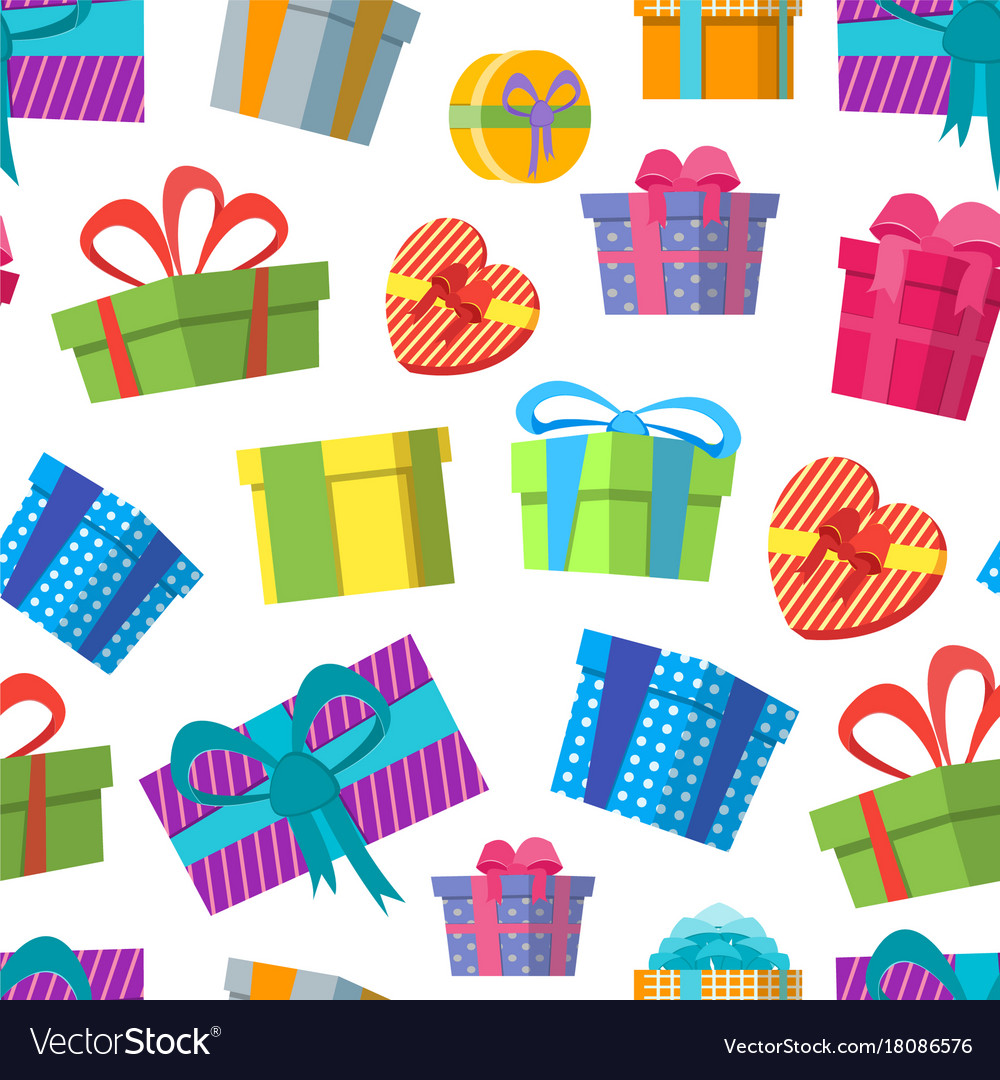 Cartoon color gift boxes background pattern on a vector image negle Choice Image