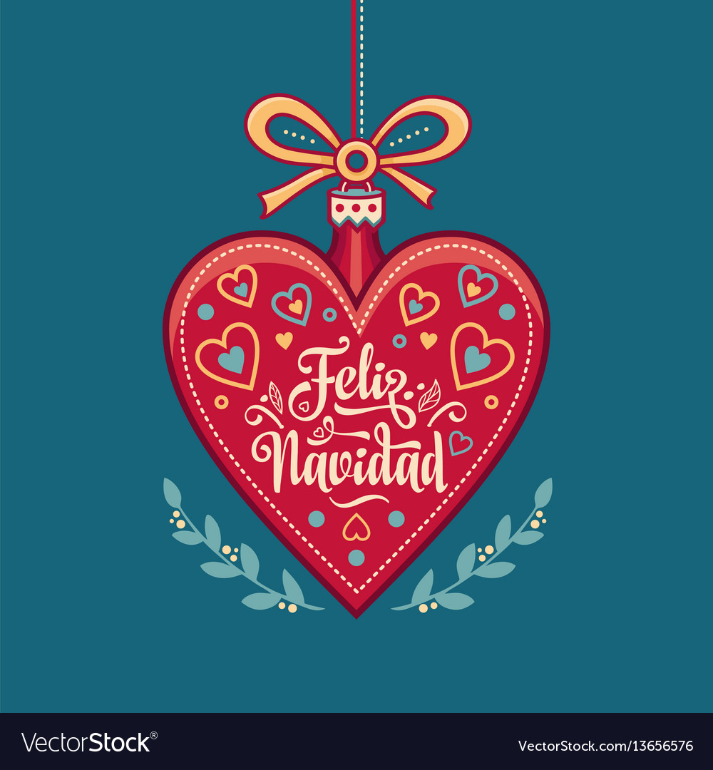 Feliz navidad xmas card on spanish language warm