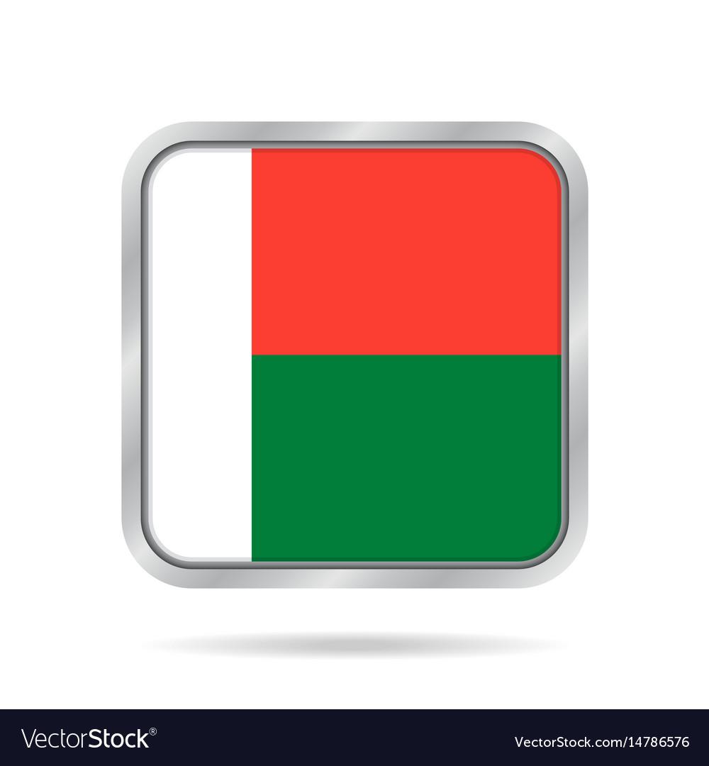 Flag of madagascar metallic gray square button
