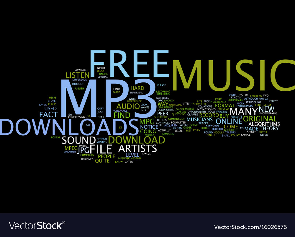 Free Mp Music Download Text Background Word Cloud Vector Image