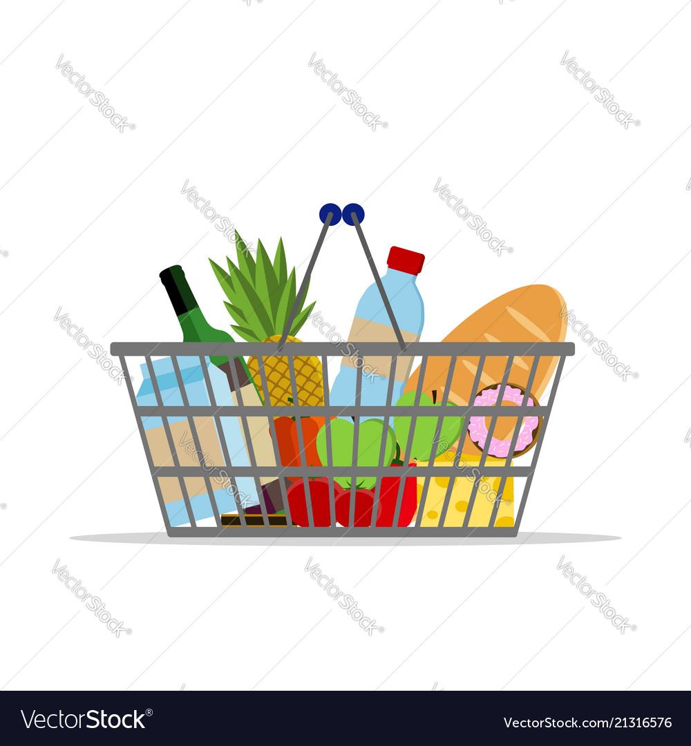 Full basket with different food supermarket