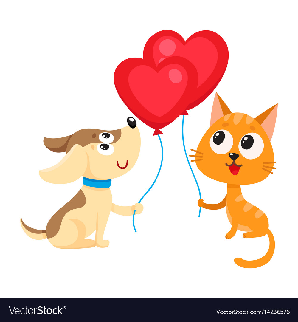 Funny dog puppy and cat kitten holding heart