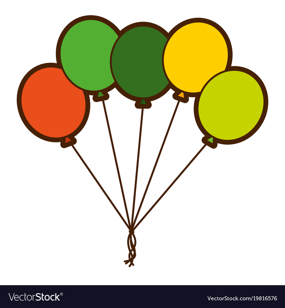 Green bunch balloons decoration ornament party vector image