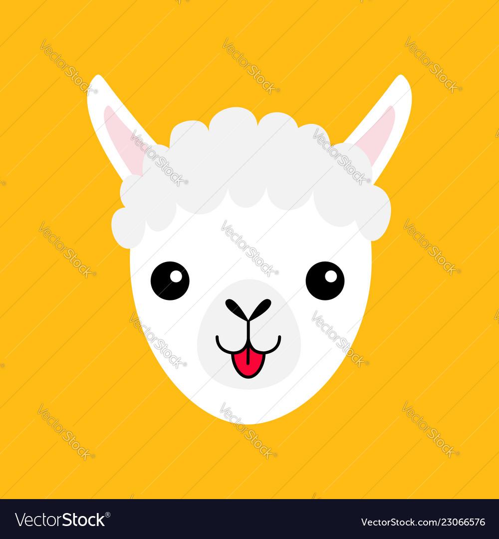 Llama Alpaca Animal Face Icon Cute Cartoon Funny