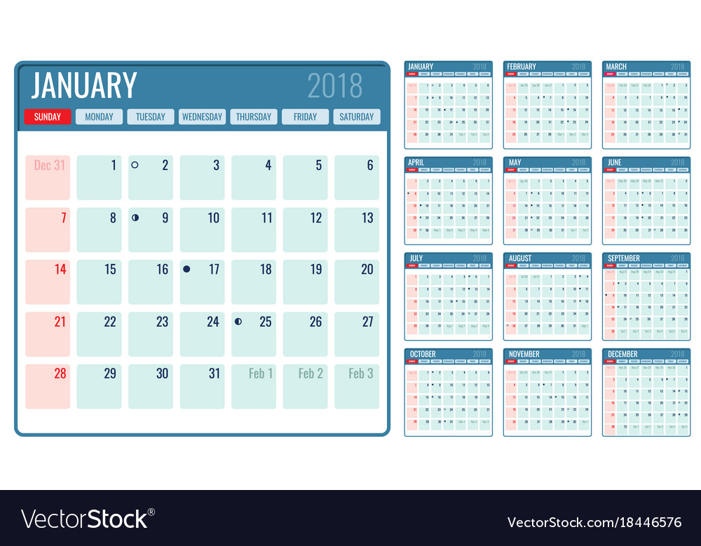 Monthly Calendar Template 2018 Year Royalty Free Vector