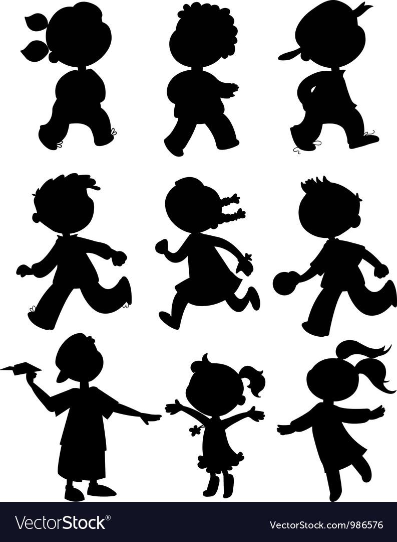 Nine kids black silhouettes vector image