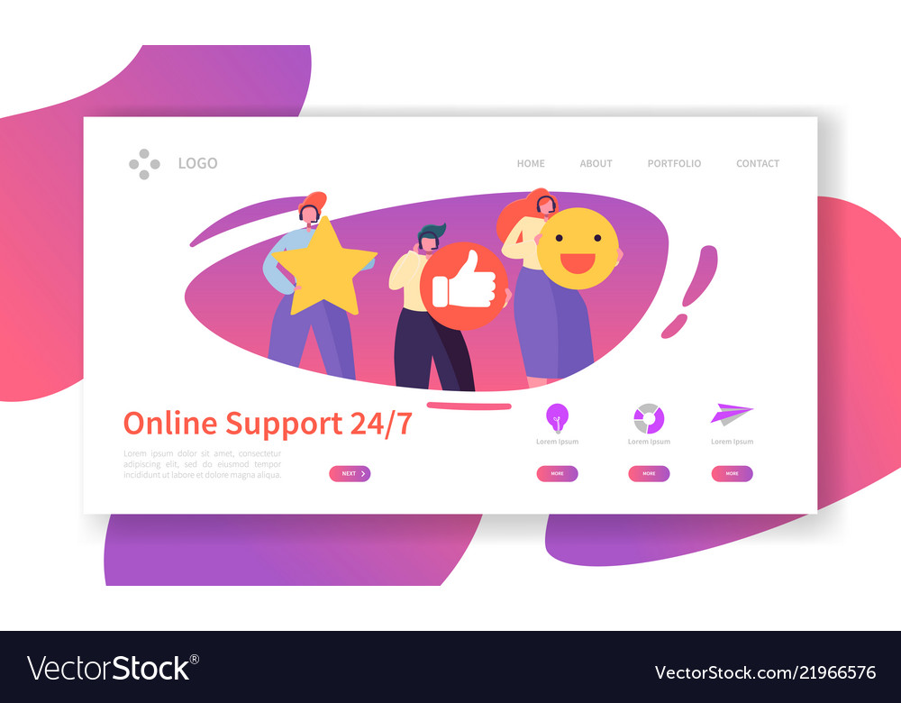 Online technical support landing page template